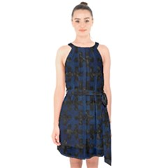 Puzzle1 Black Marble & Blue Grunge Halter Collar Waist Tie Chiffon Dress