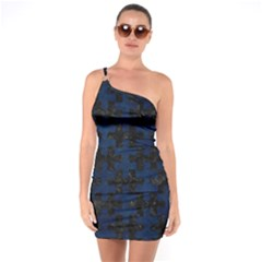 Puzzle1 Black Marble & Blue Grunge One Shoulder Ring Trim Bodycon Dress