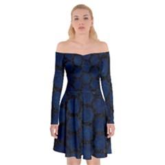 Hexagon2 Black Marble & Blue Grunge (r) Off Shoulder Skater Dress