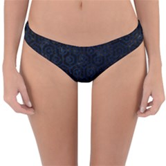 Hexagon1 Black Marble & Blue Grunge Reversible Hipster Bikini Bottoms