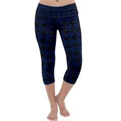 Houndstooth1 Black Marble & Blue Grunge Capri Yoga Leggings