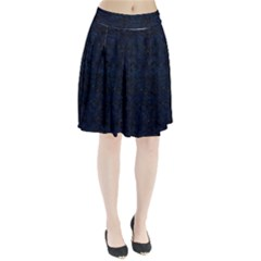 Damask2 Black Marble & Blue Grunge Pleated Skirt