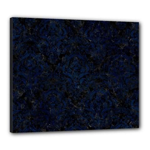 Damask1 Black Marble & Blue Grunge Canvas 24  X 20  (stretched)
