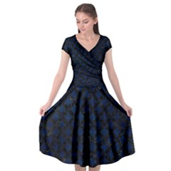 Circles3 Black Marble & Blue Grunge (r) Cap Sleeve Wrap Front Dress