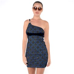 Circles3 Black Marble & Blue Grunge One Shoulder Ring Trim Bodycon Dress