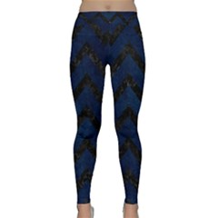 Chevron9 Black Marble & Blue Grunge (r) Classic Yoga Leggings