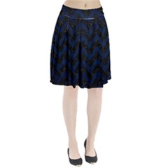 Chevron9 Black Marble & Blue Grunge Pleated Skirt