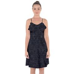 Brick1 Black Marble & Blue Grunge Ruffle Detail Chiffon Dress