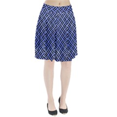 Woven2 Black Marble & Blue Watercolor (r) Pleated Skirt