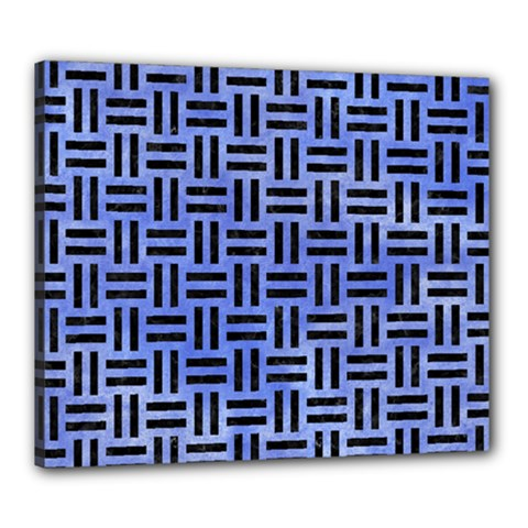 Woven1 Black Marble & Blue Watercolor (r) Canvas 24  X 20  (stretched)