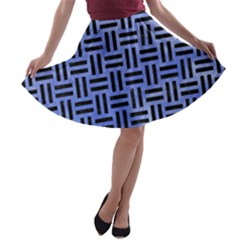 Woven1 Black Marble & Blue Watercolor (r) A Line Skater Skirt