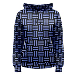 Woven1 Black Marble & Blue Watercolor Women s Pullover Hoodie