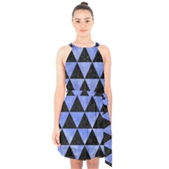 Triangle3 Black Marble & Blue Watercolor Halter Collar Waist Tie Chiffon Dress