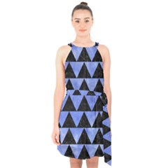 Triangle2 Black Marble & Blue Watercolor Halter Collar Waist Tie Chiffon Dress