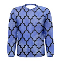 Tile1 Black Marble & Blue Watercolor (r) Men s Long Sleeve Tee