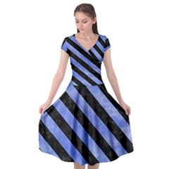Stripes3 Black Marble & Blue Watercolor (r) Cap Sleeve Wrap Front Dress