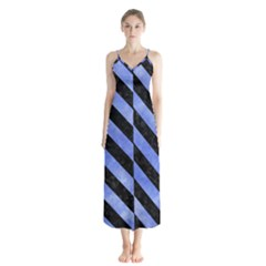 Stripes3 Black Marble & Blue Watercolor (r) Button Up Chiffon Maxi Dress