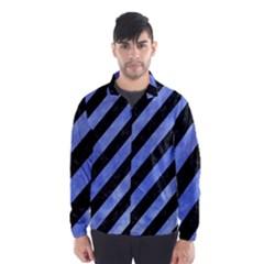 Stripes3 Black Marble & Blue Watercolor Wind Breaker (men)