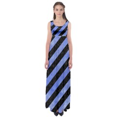 Stripes3 Black Marble & Blue Watercolor Empire Waist Maxi Dress