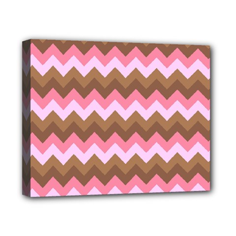Shades Of Pink And Brown Retro Zigzag Chevron Pattern Canvas 10  X 8
