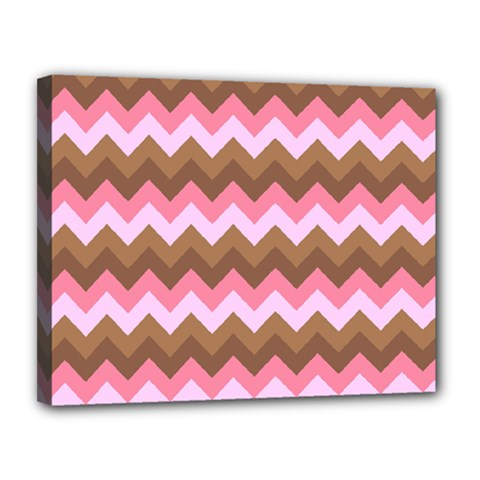 Shades Of Pink And Brown Retro Zigzag Chevron Pattern Canvas 14  X 11