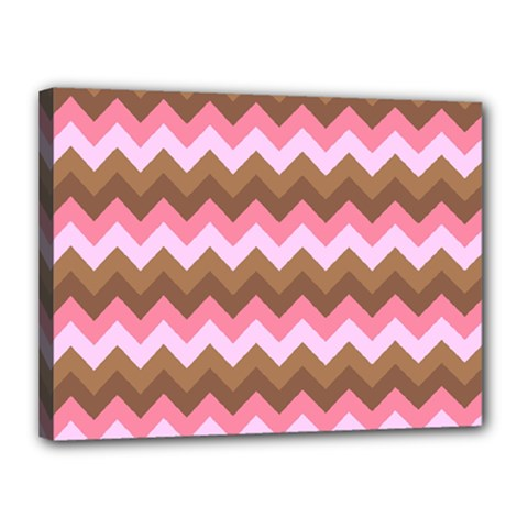 Shades Of Pink And Brown Retro Zigzag Chevron Pattern Canvas 16  X 12
