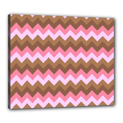 Shades Of Pink And Brown Retro Zigzag Chevron Pattern Canvas 24  X 20