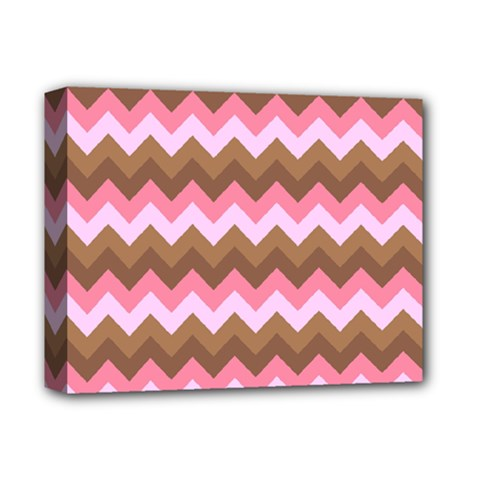 Shades Of Pink And Brown Retro Zigzag Chevron Pattern Deluxe Canvas 14  X 11