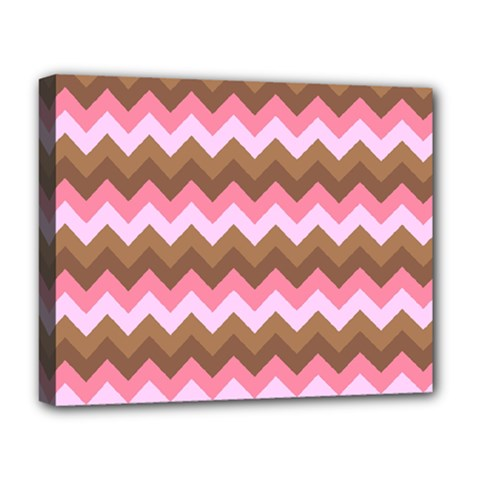 Shades Of Pink And Brown Retro Zigzag Chevron Pattern Deluxe Canvas 20  X 16