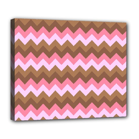 Shades Of Pink And Brown Retro Zigzag Chevron Pattern Deluxe Canvas 24  X 20