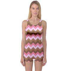Shades Of Pink And Brown Retro Zigzag Chevron Pattern One Piece Boyleg Swimsuit