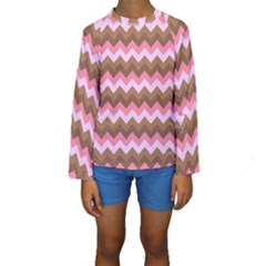 Shades Of Pink And Brown Retro Zigzag Chevron Pattern Kids  Long Sleeve Swimwear