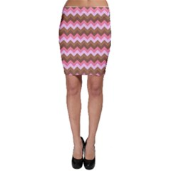 Shades Of Pink And Brown Retro Zigzag Chevron Pattern Bodycon Skirt
