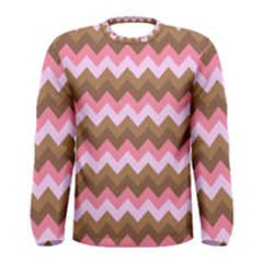 Shades Of Pink And Brown Retro Zigzag Chevron Pattern Men s Long Sleeve Tee