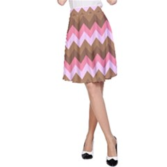 Shades Of Pink And Brown Retro Zigzag Chevron Pattern A Line Skirt