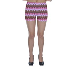 Shades Of Pink And Brown Retro Zigzag Chevron Pattern Skinny Shorts