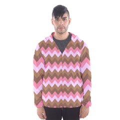 Shades Of Pink And Brown Retro Zigzag Chevron Pattern Hooded Wind Breaker (men)