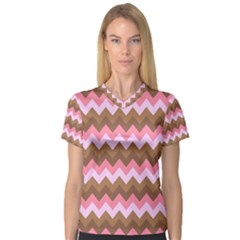Shades Of Pink And Brown Retro Zigzag Chevron Pattern Women s V Neck Sport Mesh Tee