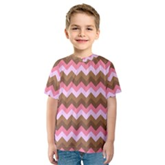 Shades Of Pink And Brown Retro Zigzag Chevron Pattern Kids  Sport Mesh Tee