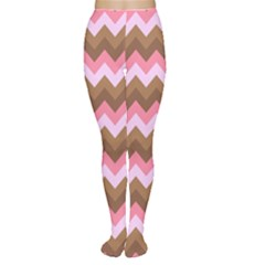 Shades Of Pink And Brown Retro Zigzag Chevron Pattern Women s Tights