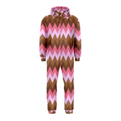 Shades Of Pink And Brown Retro Zigzag Chevron Pattern Hooded Jumpsuit (kids)