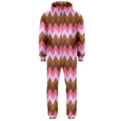 Shades Of Pink And Brown Retro Zigzag Chevron Pattern Hooded Jumpsuit (men)