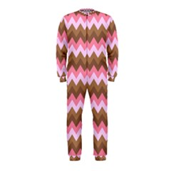 Shades Of Pink And Brown Retro Zigzag Chevron Pattern Onepiece Jumpsuit (kids)
