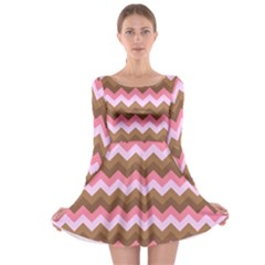 Shades Of Pink And Brown Retro Zigzag Chevron Pattern Long Sleeve Skater Dress