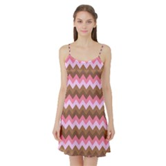 Shades Of Pink And Brown Retro Zigzag Chevron Pattern Satin Night Slip