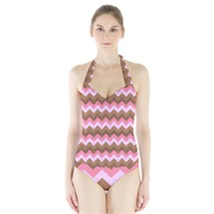 Shades Of Pink And Brown Retro Zigzag Chevron Pattern Halter Swimsuit