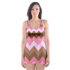 Shades Of Pink And Brown Retro Zigzag Chevron Pattern Skater Dress Swimsuit