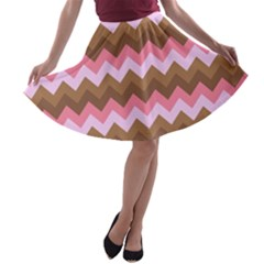 Shades Of Pink And Brown Retro Zigzag Chevron Pattern A Line Skater Skirt