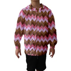 Shades Of Pink And Brown Retro Zigzag Chevron Pattern Hooded Wind Breaker (kids)