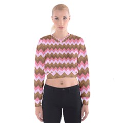 Shades Of Pink And Brown Retro Zigzag Chevron Pattern Cropped Sweatshirt